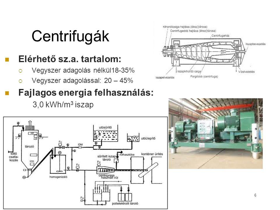 Centrifugák Elérhető sz.a. tartalom: Fajlagos energia felhasználás: