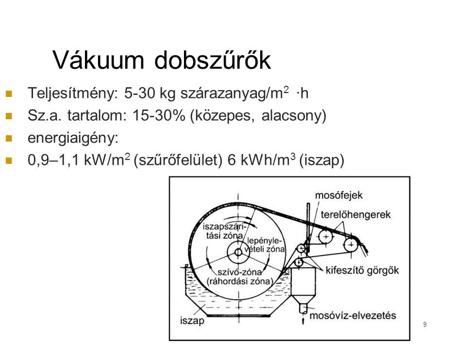 Vákuum dobszűrők Teljesítmény: 5-30 kg szárazanyag/m2 ·h