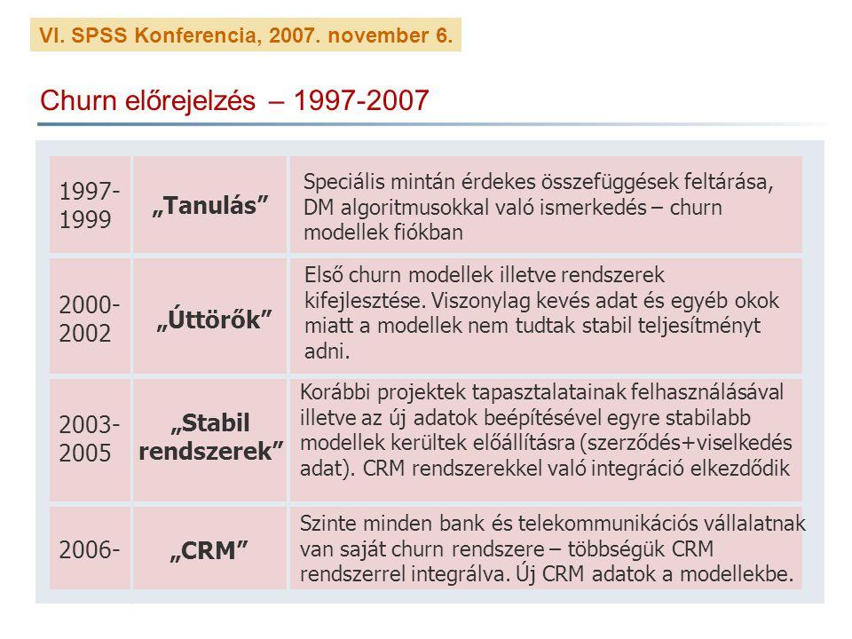 """Churn előrejelzés – 1997-2007 1997-1999 """"Tanulás 2000-2002 """"Úttörők"""