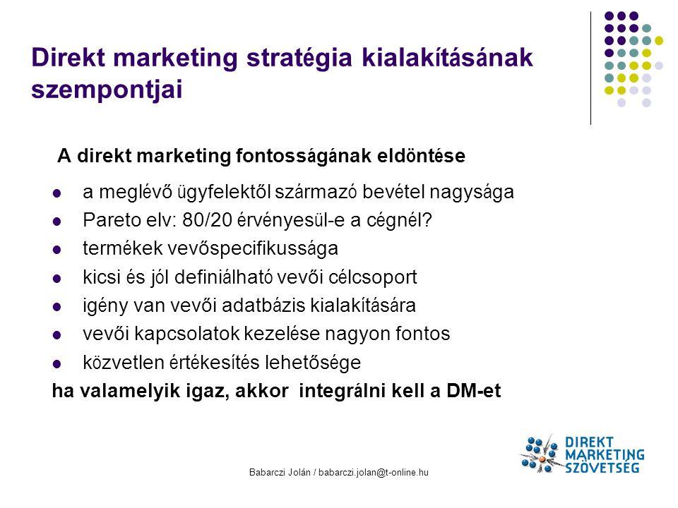 Direkt marketing stratégia kialakításának szempontjai