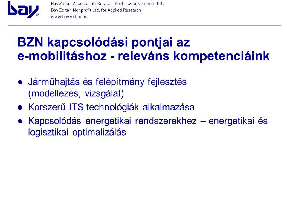 BZN kapcsolódási pontjai az e-mobilitáshoz - releváns kompetenciáink
