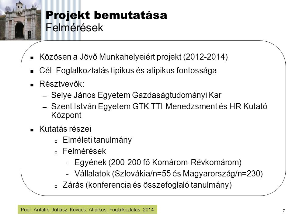 Projekt bemutatása Felmérések