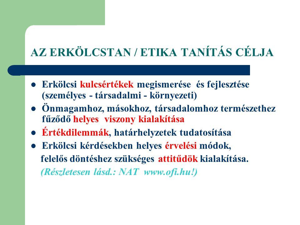 AZ ERKÖLCSTAN / ETIKA TANÍTÁS CÉLJA