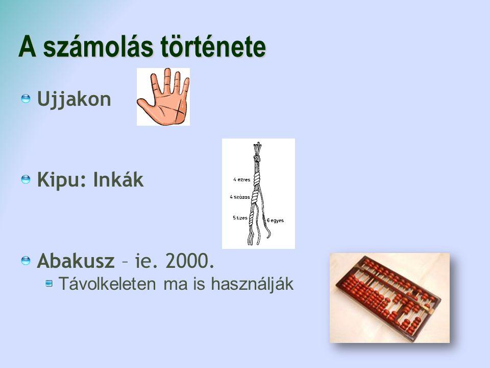 A számolás története Ujjakon Kipu: Inkák Abakusz – ie. 2000.