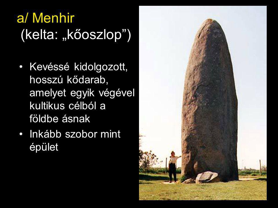 """a/ Menhir (kelta: """"kőoszlop )"""