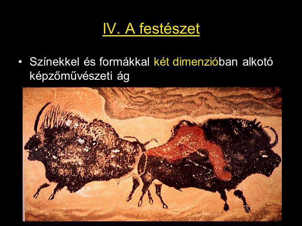 IV. A festészet Színekkel és formákkal két dimenzióban alkotó képzőművészeti ág