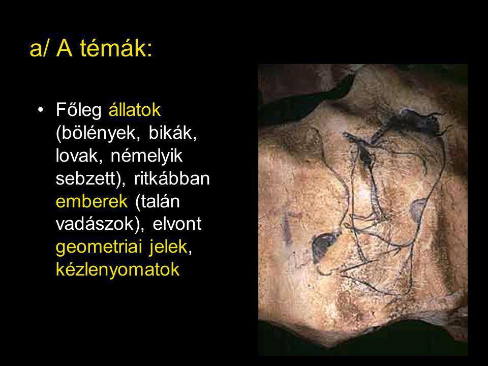 a/ A témák: Főleg állatok (bölények, bikák, lovak, némelyik sebzett), ritkábban emberek (talán vadászok), elvont geometriai jelek, kézlenyomatok.