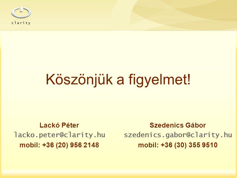 Köszönjük a figyelmet! Lackó Péter Szedenics Gábor