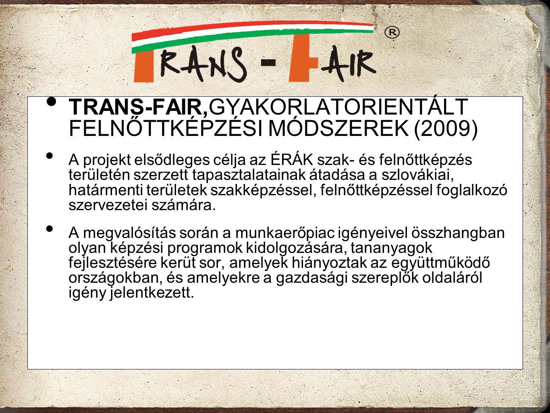 TRANS-FAIR,GYAKORLATORIENTÁLT FELNŐTTKÉPZÉSI MÓDSZEREK (2009)