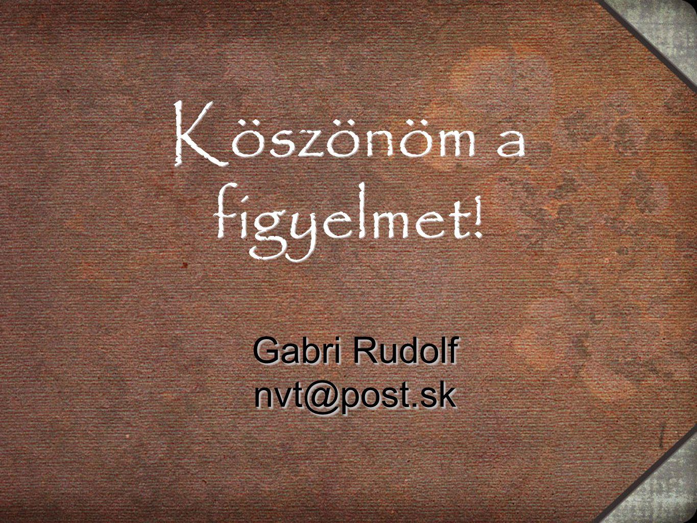 Köszönöm a figyelmet! Gabri Rudolf nvt@post.sk