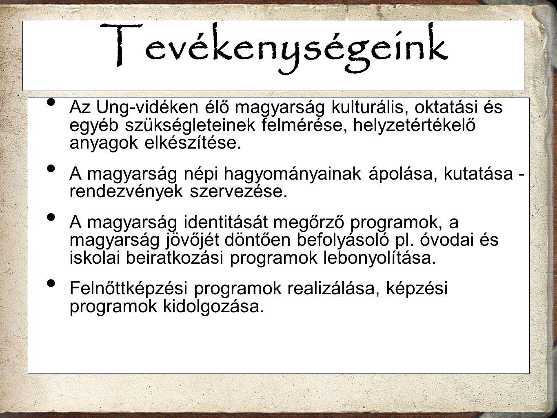 Tevékenységeink Az Ung-vidéken élő magyarság kulturális, oktatási és egyéb szükségleteinek felmérése, helyzetértékelő anyagok elkészítése.