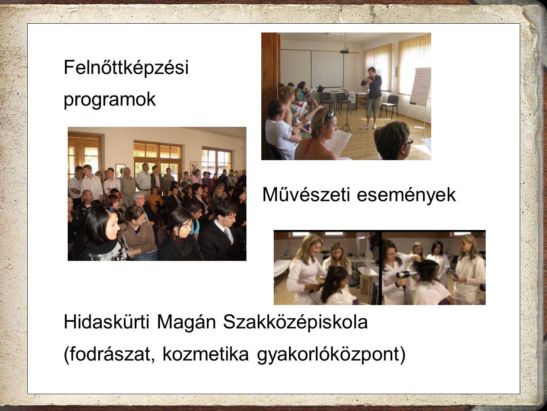 Felnőttképzési programok. Művészeti események. Hidaskürti Magán Szakközépiskola.