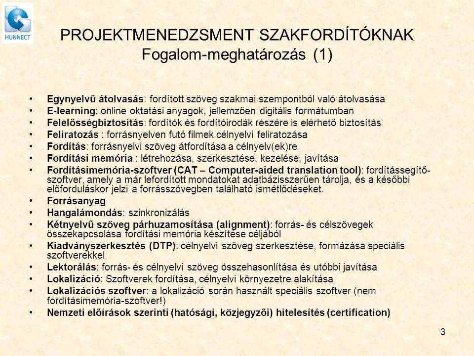 PROJEKTMENEDZSMENT SZAKFORDÍTÓKNAK Fogalom-meghatározás (1)