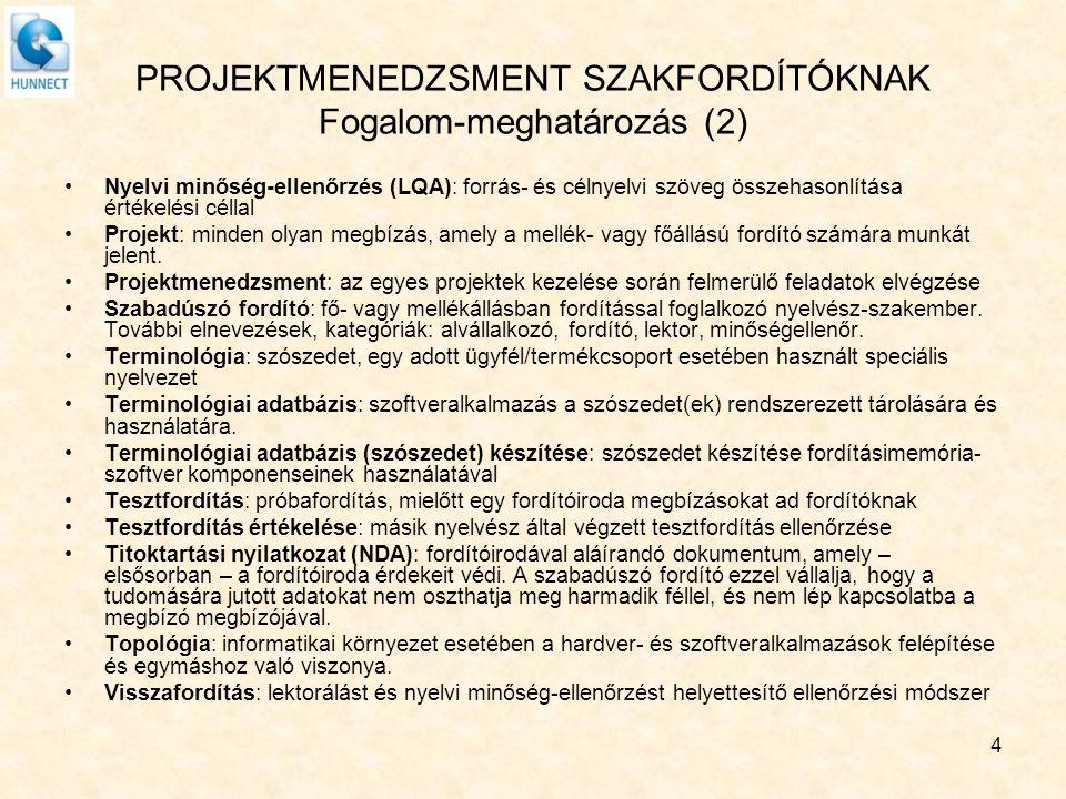 PROJEKTMENEDZSMENT SZAKFORDÍTÓKNAK Fogalom-meghatározás (2)