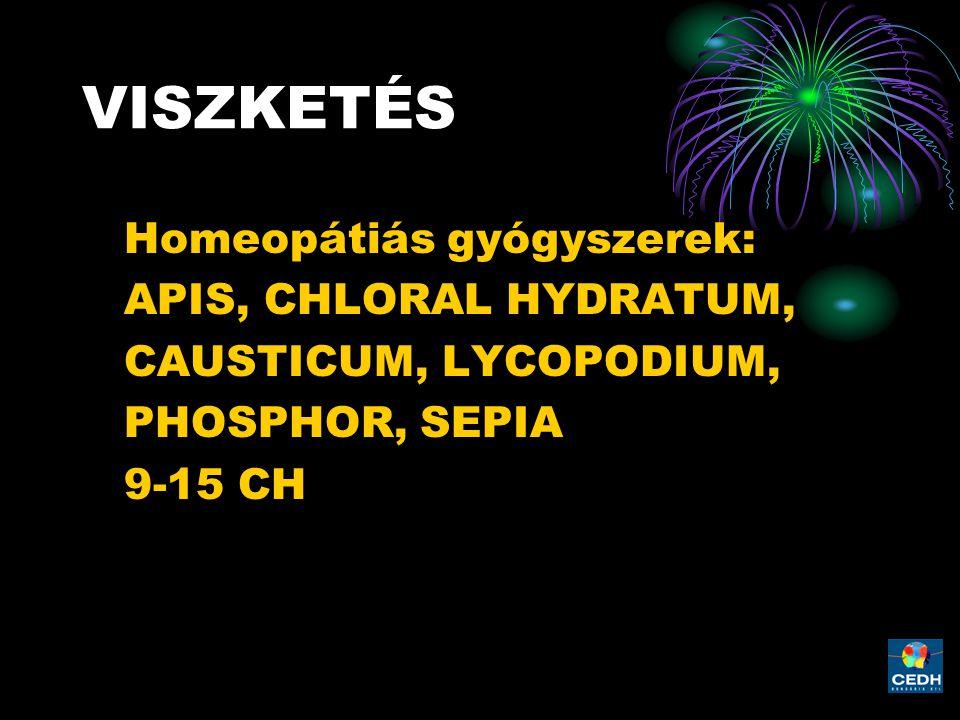 VISZKETÉS Homeopátiás gyógyszerek: APIS, CHLORAL HYDRATUM,