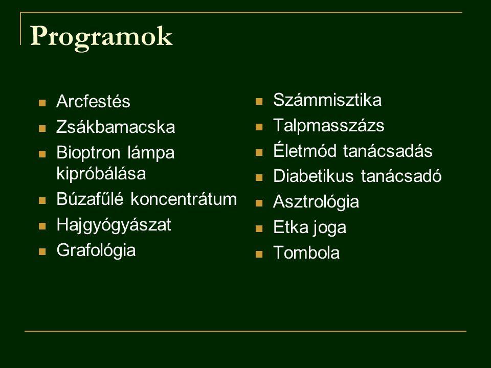 Programok Arcfestés Számmisztika Zsákbamacska Talpmasszázs