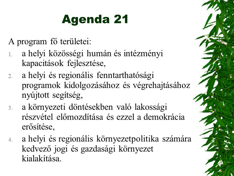 Agenda 21 A program fő területei: