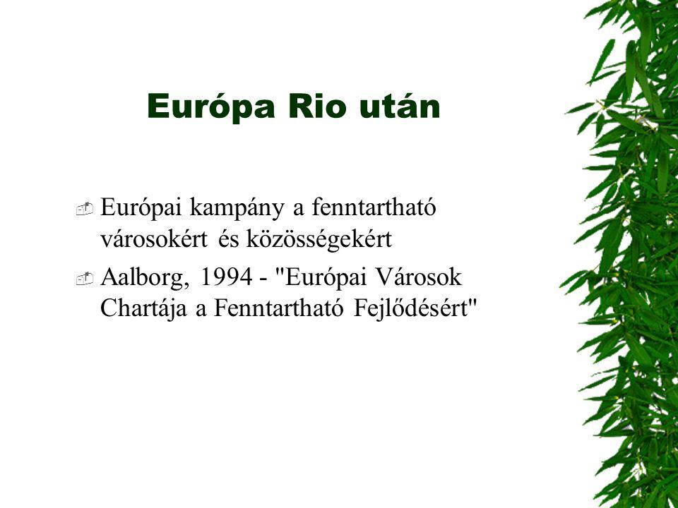 Európa Rio után Európai kampány a fenntartható városokért és közösségekért.