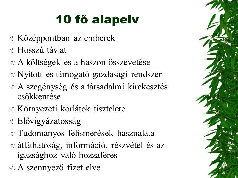 10 fő alapelv Középpontban az emberek Hosszú távlat