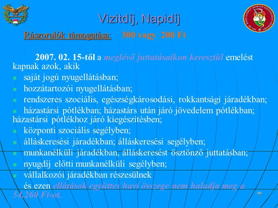Vizitdíj, Napidíj Rászorulók támogatása: 300 vagy 200 Ft