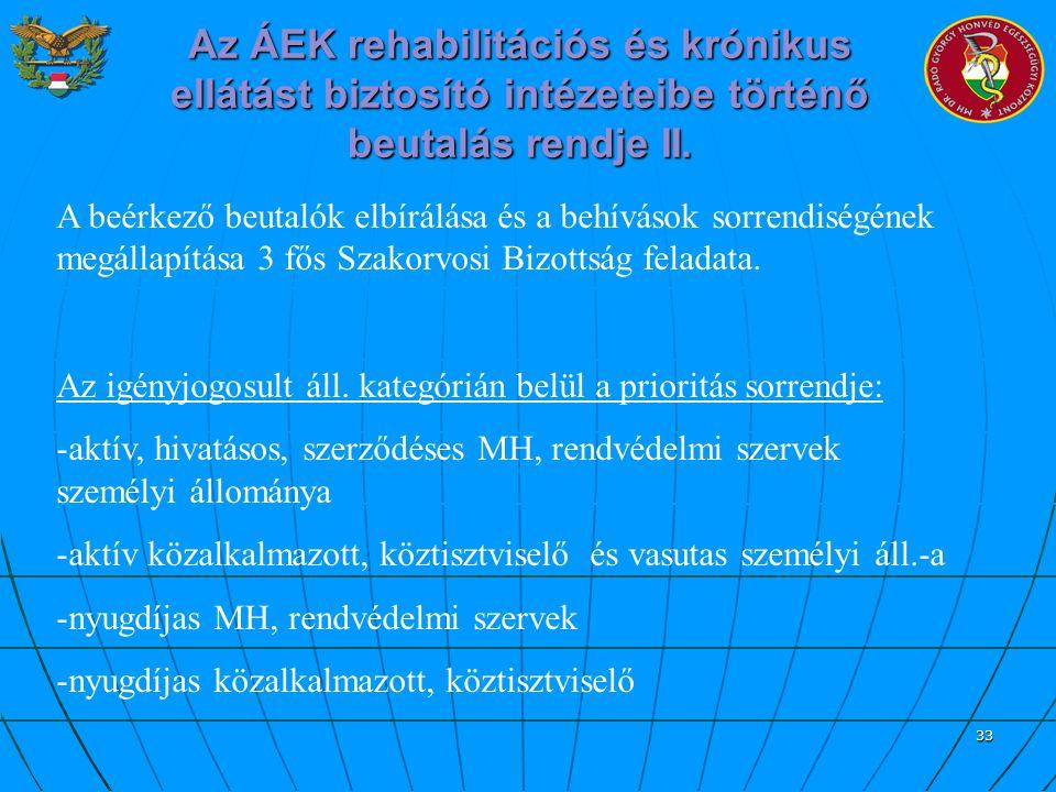 Az ÁEK rehabilitációs és krónikus ellátást biztosító intézeteibe történő beutalás rendje II.