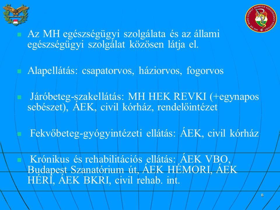 Az MH egészségügyi szolgálata és az állami egészségügyi szolgálat közösen látja el.