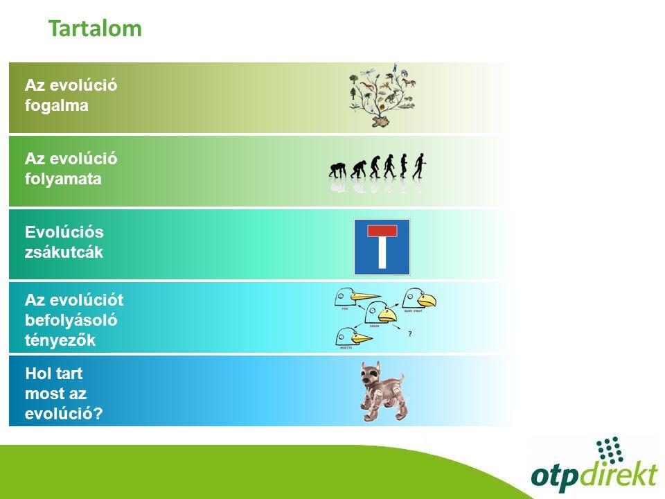 Tartalom Az evolúció fogalma Az evolúció folyamata Evolúciós zsákutcák