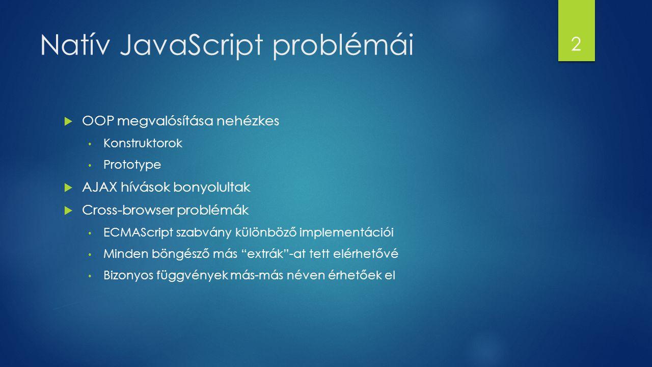 Natív JavaScript problémái