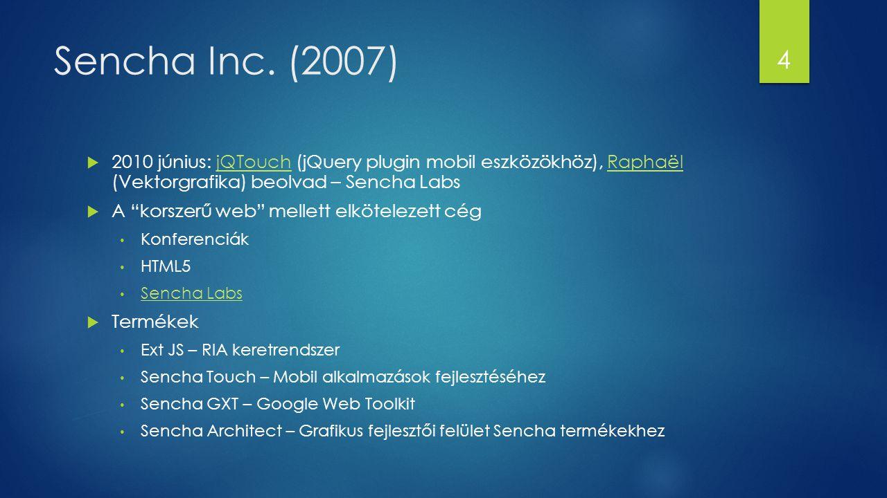 Sencha Inc. (2007) 2010 június: jQTouch (jQuery plugin mobil eszközökhöz), Raphaël (Vektorgrafika) beolvad – Sencha Labs.