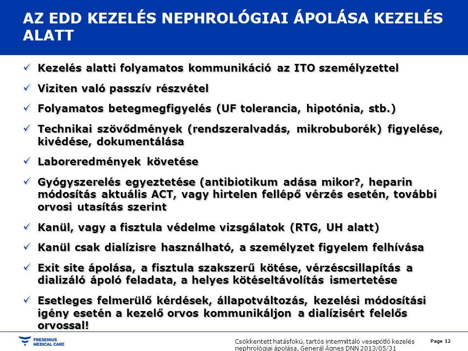 AZ EDD KEZELÉS NEPHROLÓGIAI ÁPOLÁSA KEZELÉS ALATT
