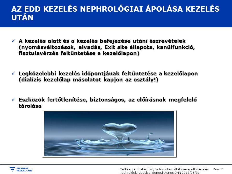 AZ EDD KEZELÉS NEPHROLÓGIAI ÁPOLÁSA KEZELÉS UTÁN
