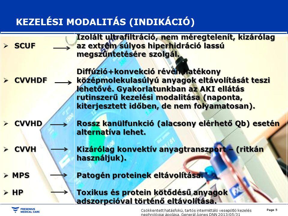 KEZELÉSI MODALITÁS (INDIKÁCIÓ)