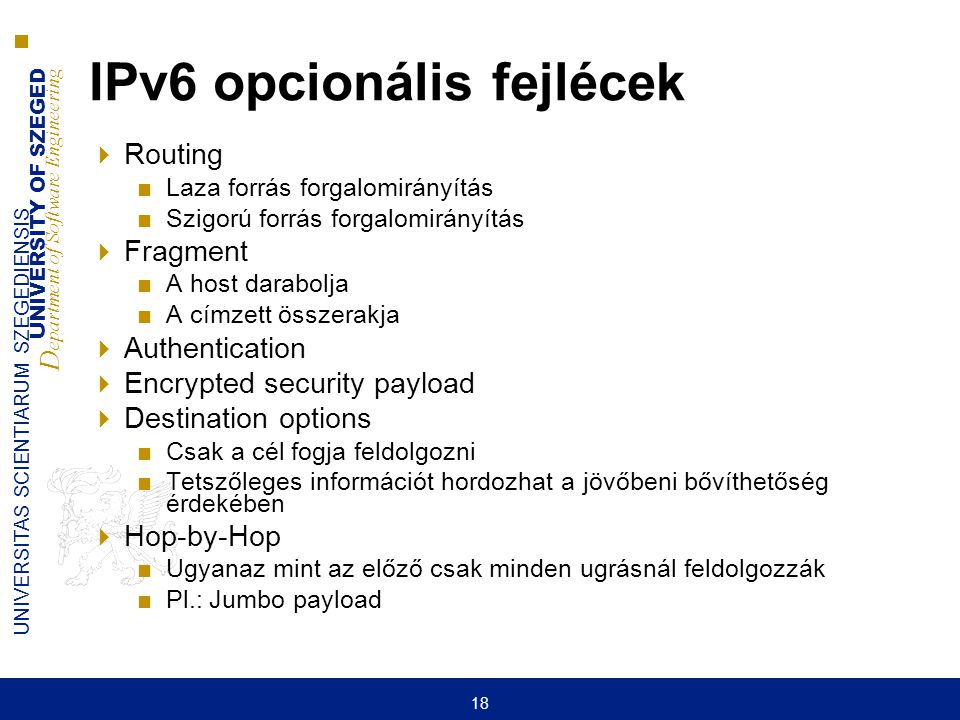 IPv6 opcionális fejlécek