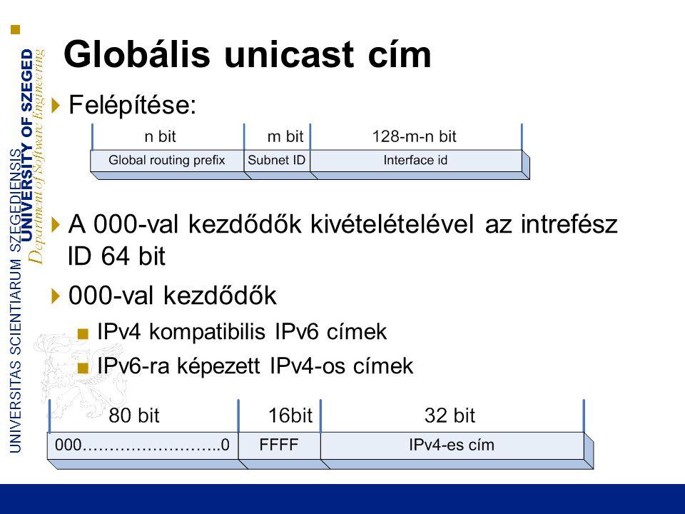 Globális unicast cím Felépítése: