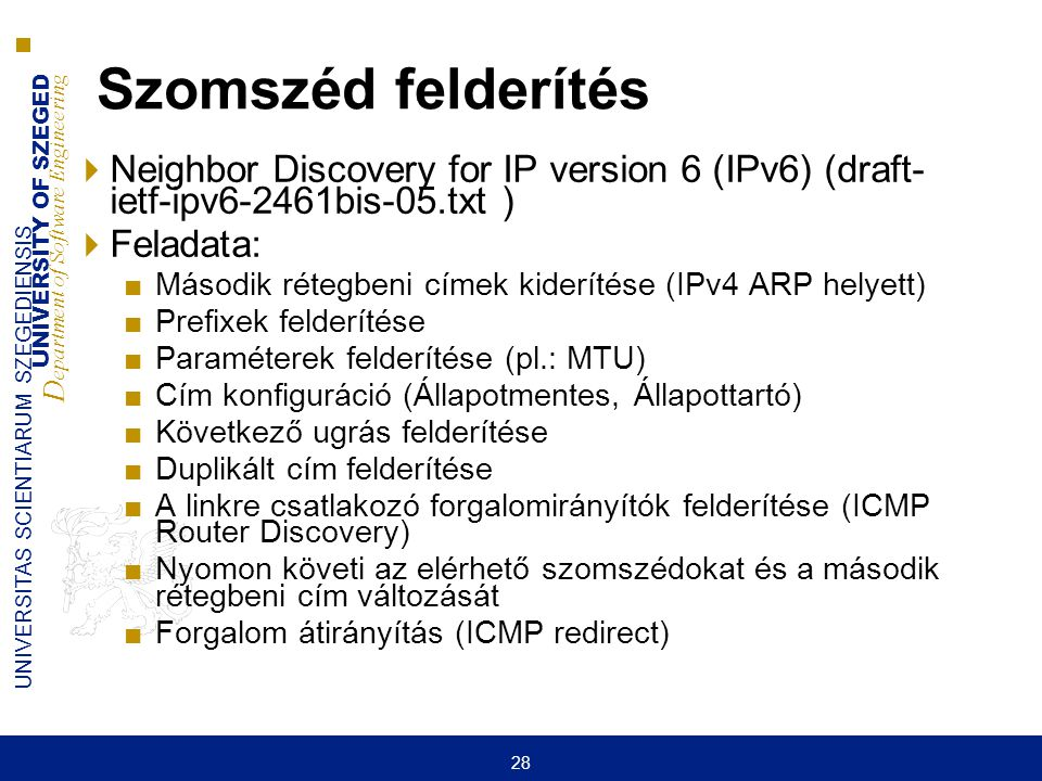Szomszéd felderítés Neighbor Discovery for IP version 6 (IPv6) (draft- ietf-ipv6-2461bis-05.txt ) Feladata: