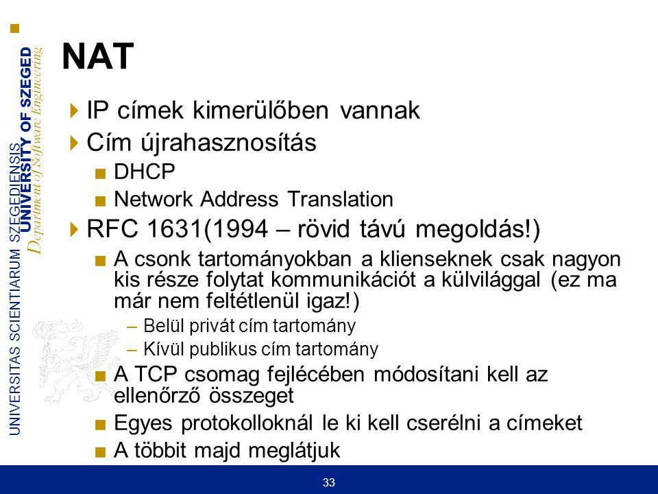 NAT IP címek kimerülőben vannak Cím újrahasznosítás