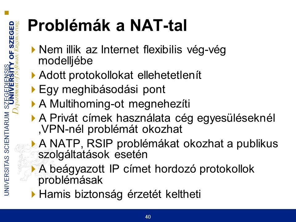 Problémák a NAT-tal Nem illik az Internet flexibilis vég-vég modelljébe. Adott protokollokat ellehetetlenít.