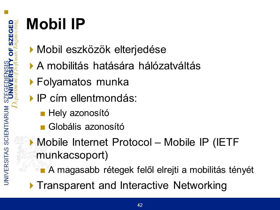 Mobil IP Mobil eszközök elterjedése A mobilitás hatására hálózatváltás