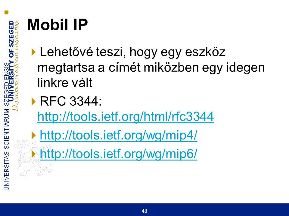 Mobil IP Lehetővé teszi, hogy egy eszköz megtartsa a címét miközben egy idegen linkre vált. RFC 3344: http://tools.ietf.org/html/rfc3344.