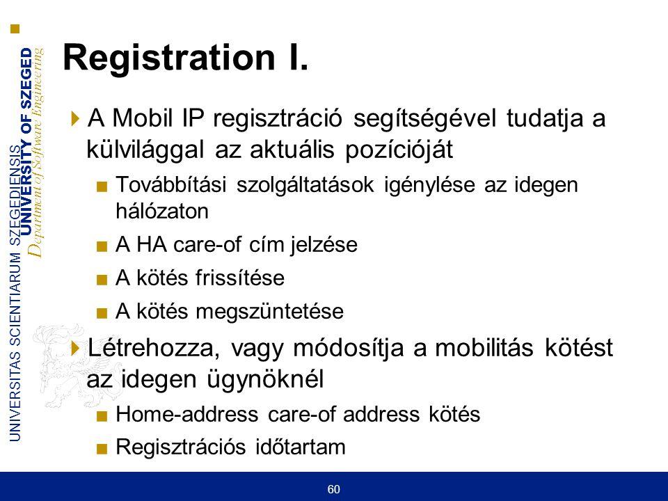 Registration I. A Mobil IP regisztráció segítségével tudatja a külvilággal az aktuális pozícióját.