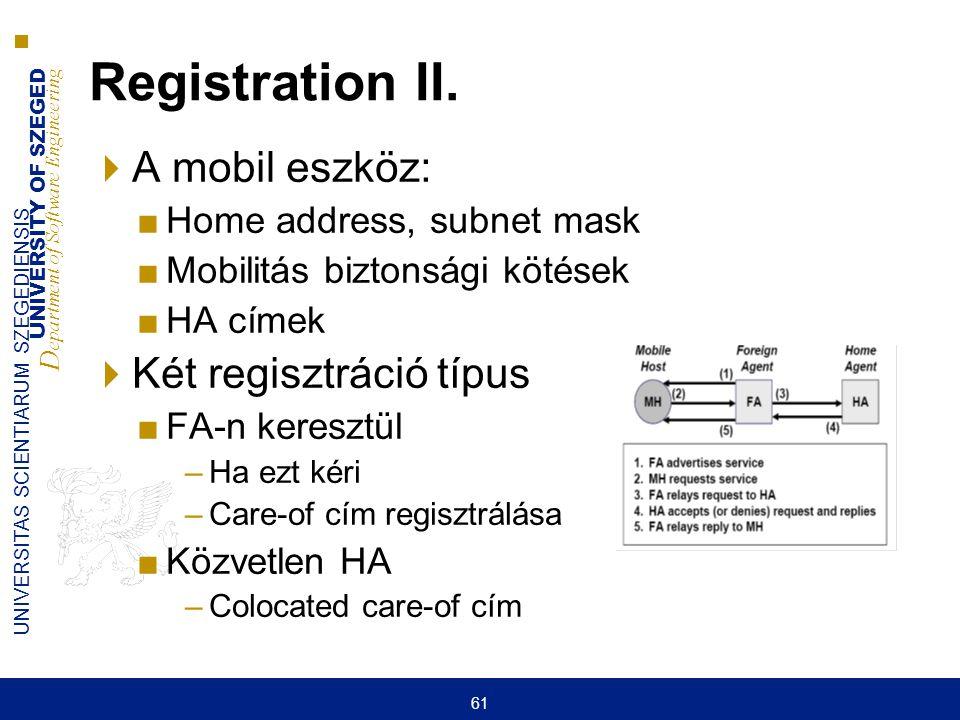 Registration II. A mobil eszköz: Két regisztráció típus