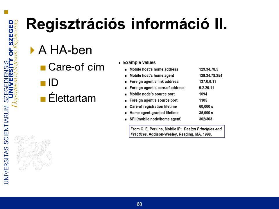 Regisztrációs információ II.