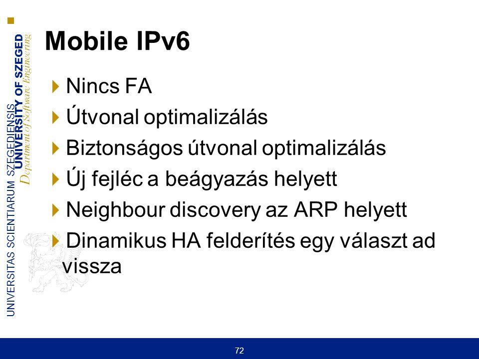 Mobile IPv6 Nincs FA Útvonal optimalizálás