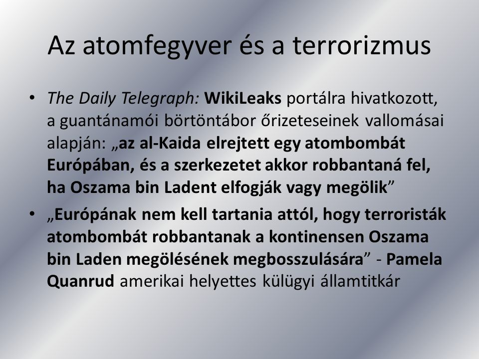 Az atomfegyver és a terrorizmus