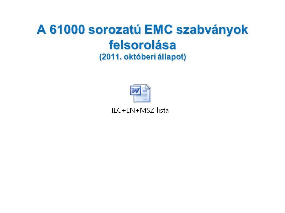 A 61000 sorozatú EMC szabványok felsorolása (2011. októberi állapot)