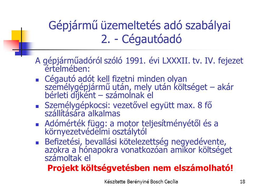 Gépjármű üzemeltetés adó szabályai 2. - Cégautóadó