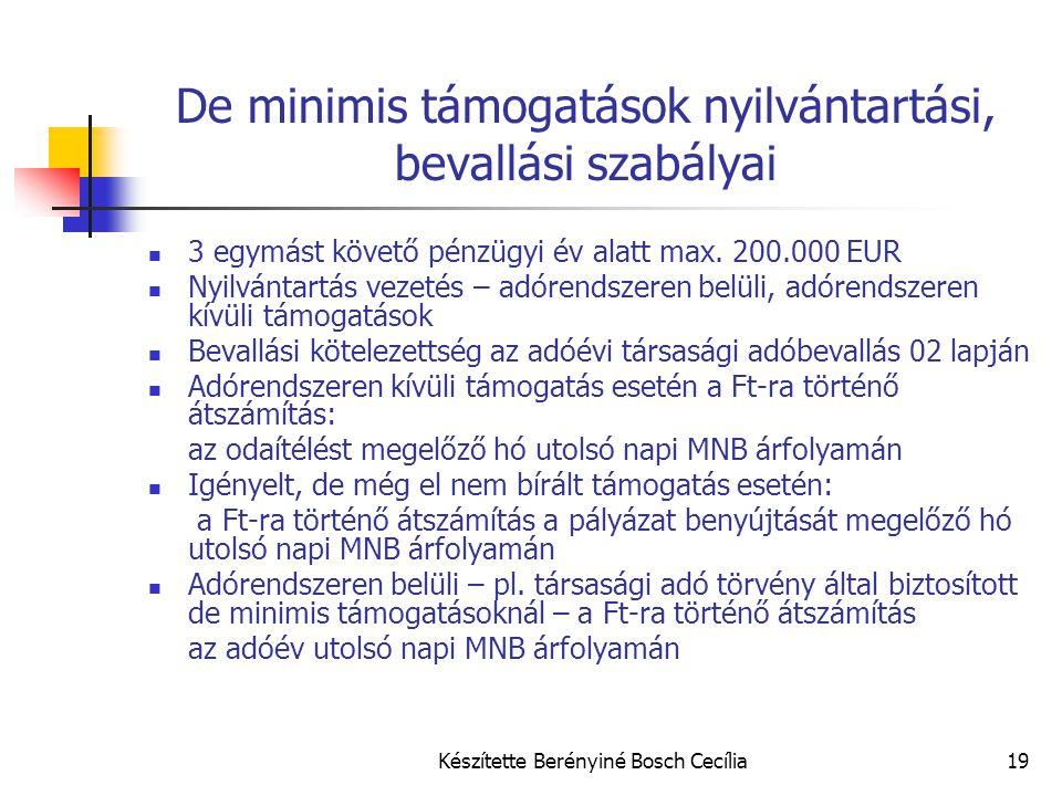 De minimis támogatások nyilvántartási, bevallási szabályai