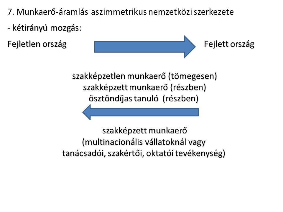 7. Munkaerő-áramlás aszimmetrikus nemzetközi szerkezete