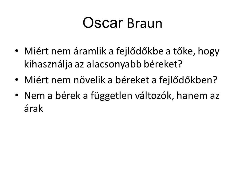 Oscar Braun Miért nem áramlik a fejlődőkbe a tőke, hogy kihasználja az alacsonyabb béreket Miért nem növelik a béreket a fejlődőkben