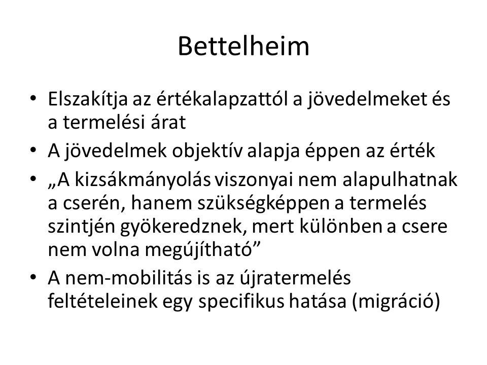 Bettelheim Elszakítja az értékalapzattól a jövedelmeket és a termelési árat. A jövedelmek objektív alapja éppen az érték.